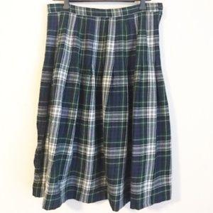 Vintage Talbots Forest Green Plaid Wool Midi Skirt